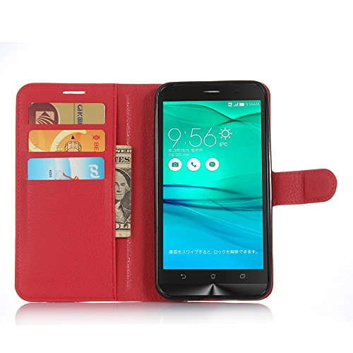 Tasche für Asus ZenFone Go ZB551KL (5.5 zoll) Hülle, Ycloud PU Ledertasche Flip Cover Wallet Hülle Handyhülle mit Stand Function Credit Card Slots Bookstyle Purse Design rote