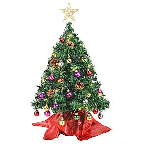 Wesimplelife 60cm Mini Weihnachtsbaum Künstlicher Tannenbaum Xmas Pine Tree mit Weihnachtsdeko 50 LED Beleuchtung Tannenzapfen 25 Balls Baumspitze für Zuhause und im Büro