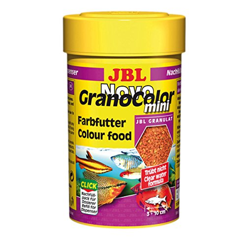 JBL NovoGranoColor 30097, Alleinfutter für kleine farbenprächtige Aquarienfische, Nachfülldose, Granulat, 100 ml