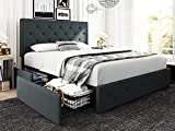 Hoomic Queen Platform Bed Frame with 4 Drawers and Adjustable Headboard, Diamond Stitched Button Tufted Design, Upholstered Mattress Foundation with Wood Slats Support, No Box Spring Needed, Dark Grey