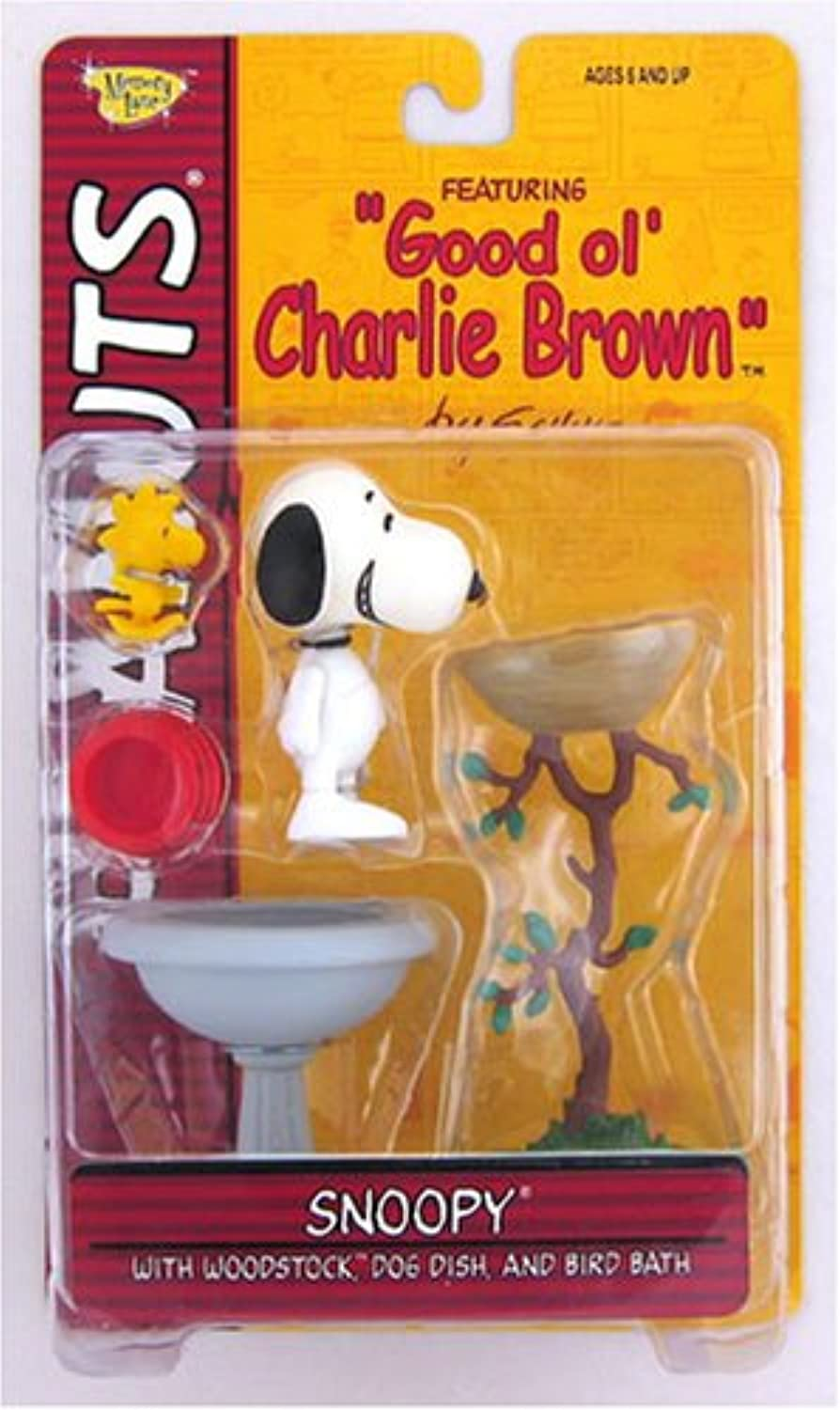 SNOOPY & WOODSTOCK  CLASSIC SMILE EXPRESSION  with Dog Dish & Bird Bath PEANUTS Action Figure from Good ol' CHARLIE BROWN