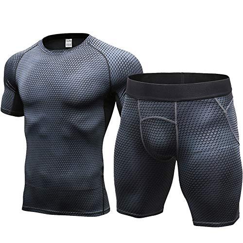 Shengwan 2 Piezas Hombre Camisetas de Fitness Compresión Ropa Deportiva Manga Corta+Pantalones Cortos para Correr, Ejercicio,Gimnasio Negro Neto S