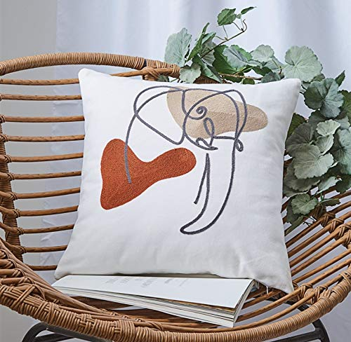 DUIPENGFEI 2pcs Modern Abstract Cartoon 3d Towel Embroidered Cotton Pillowcase Sofa Office Embroidered Pillow Car Cushion, Elephant, 45 * 45cm