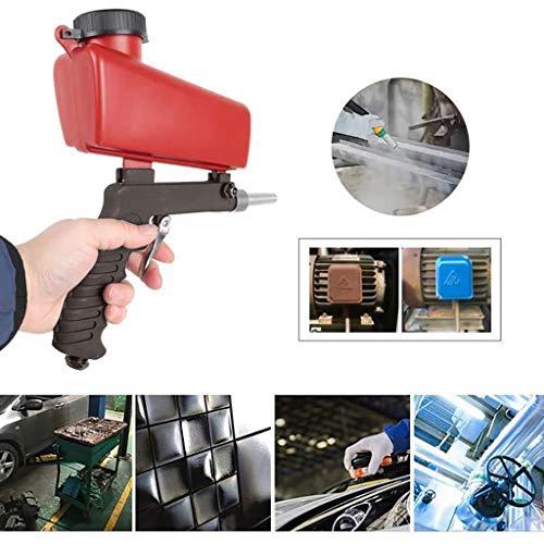 Komise Tragbares Schwerkraft-Sandstrahlgerät Pneumatische kleine Sandstrahlmaschine 90psi (rot)