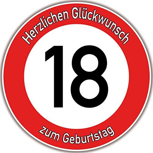 Tortenaufleger Fototorte Tortenbild Warnschild 18. Geburtstag rund 20 cm GB03 (Zuckerpapier)