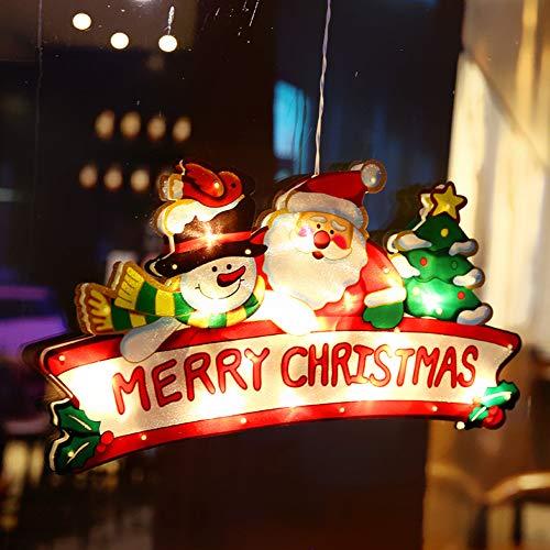 LED habitación de los niños ventana de navidad forma de luz imagen de la ventana ventosa silueta de la ventana luces navideñas con pilas deco luz para escaparate de tienda (2 piezas),Merry christmas