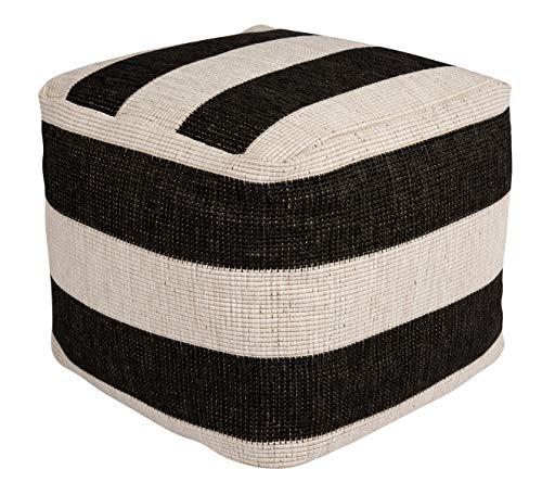 bougari Gobi In- en Outdoor zitpoef gevuld met polystyreen bolletjes Gobi 48x48x42 cm zwart-crème