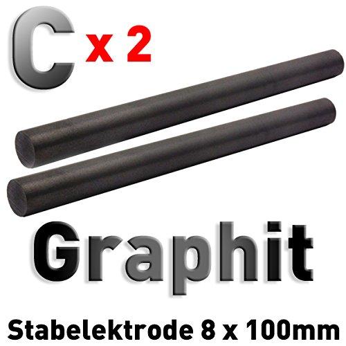 2 Stück Graphit-Stab-Anoden/Elektroden (100 x 8 mm) für Stiftgalvanik Tampongalvanik 10cm