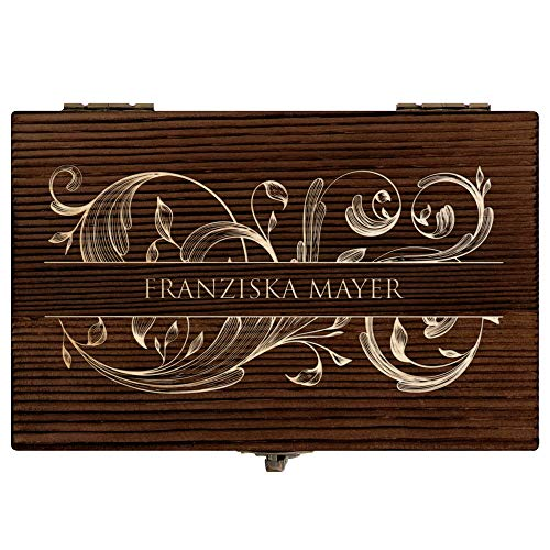 Murrano Whisky Steine Set - in Holzbox mit Gravur - 6 Eiswürfel + Zange & Velourbeutel - wiederverwendbar - aus Granit - Geschenk für Paare - Monogramm - 5