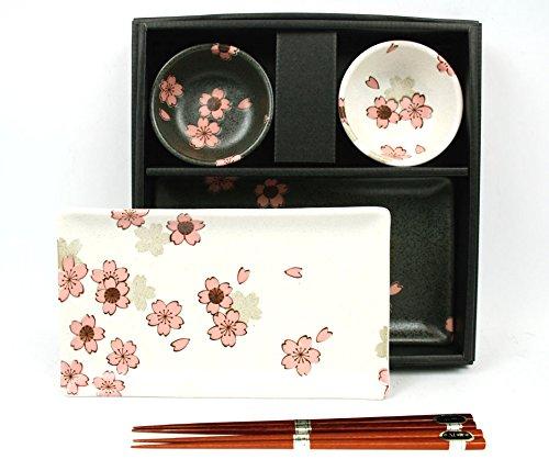 Japanisches Sushi-Set SAKURA NISHU aus Porzellan in Geschenkbox hergestellt in Japan