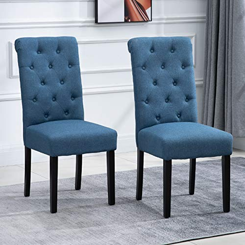 tufted dining chair set of 2s nozama 2 Pack Upholstered Dining Chairs Set of 2 Tufted Parsons Chairs with Solid Wood Legs High Back Kitchen Dining Room Chairs(Blue)