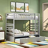 Bunk Beds for Kids, Twin Over Twin Bed with Trundle, Wooden Twin Trundle Bed with Safety Rail Ladder, Teens Bedroom Bed, Guest Room Furniture (Without Drawers, Gray)
