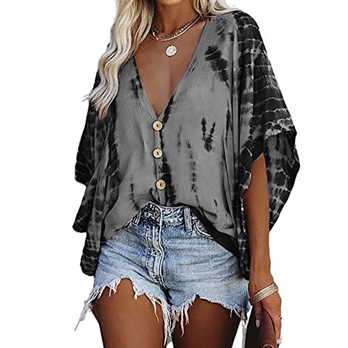 Elesoon Camisa de verano para mujer con rayas de tie-dye para trajes de baño de encubrimientos de talla grande, de chifón de murciélago, A-gris., 38