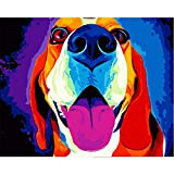 yaonuli Pintura Digital DIY Lengua Color Lindo Perro Lienzo Animal decoración de la Boda Regalo 40x50 cm Sin Marco