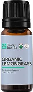 Bloomy Essentials Organic Lemongrass Essential Oil 10 mL (1/3 oz) - USDA Certified Organic - 100% Vegan, Therapeutic Grade...