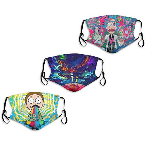 Face Mask Rick and Morty Swim Comics Sky Stars Psychedelic 3PC with 6 Filters Reusable Washable Adjustable Masks Men Women Made in USA