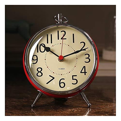 Reloj Despertador Nórdico rojo pequeño reloj de mesa sala de estar decoración reloj reloj reloj rojo segunda mano fácil leer números grandes clásico reloj de mesita de noche Reloj de Escritorio