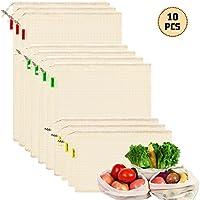 YIHONG 10PCS Bolsas Compra Reutilizables,Bolsas de algodon Reutilizables para Fruta,Verduras,Lavable y Transpirable,3 Tamaños (3*S, 4*M, 3*L)