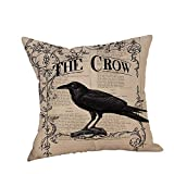 HGWXX7 Happy Halloween Pillow Covers Crow Print Linen Sofa Cushion Case Home Decor for Sofa(K)