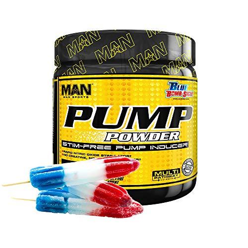 Man Sports Pump Powder. Stimulant Free Blue Bomb-Sicle Flavored Workout Enhancer Drink Mix (30 Servings)