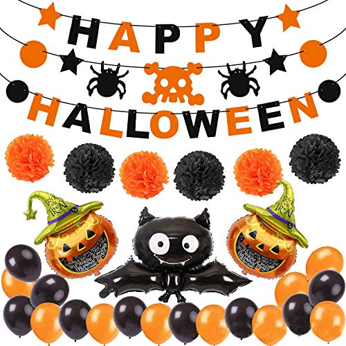YOUYIKE Decoración de fiesta de Halloween Set Happy Halloween Balloons Banner, Bat, Pumpkin Ghost Foil balloon Black Orange Globo de látex para Halloween Bar Suministros de decoración del hogar