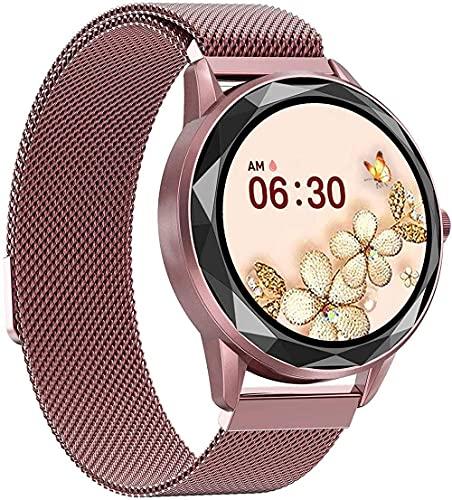 YLB - Reloj inteligente para mujer, pantalla de 9 pulgadas, IP67, resistente al agua, modo multideportivo, sincronización de información, recordatorio inteligente (color: rosa)