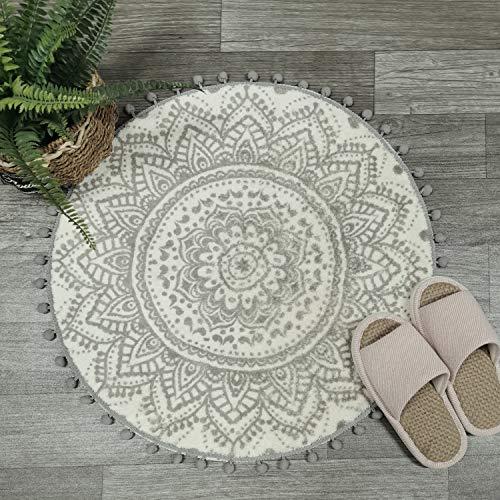 Uphome Runder kleiner Teppich, 61 cm mit schickem Pompon-Fransen, Boho, grau, Mandala, Badezimmer, Teppich, weich, rutschfest, Samt, Boden-Überwurf für Schlafzimmer, Wohnzimmer, Dekor