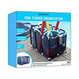 """Essentially Yours Pool Noodles Holder, Toys, Floats, Balls and Floats Equipment Mesh Rolling Storage Organizer Bin, 50""""x 32""""x 36"""" , XXL, Blue Mesh / White PVC"""