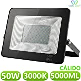 Foco LED exterior Floodlight 50W GNETIC GLASS Proyector Negro Impermeable IP65 5000LM Color Luz Blanco Cálido 3000K Angulo 120º 176x245 mm 30000h Equivalente a 450W [Eficiencia energética A++] Pack x1
