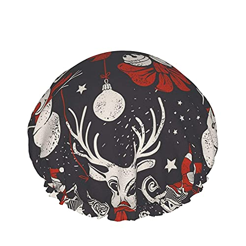Double Layers Shower Cap,Vintage Hand Drawn Christmas A Deer In Red Scarf Santa Sleigh And Snowman,Reusable Waterproof Elastic Bath Caps for All Hair Lengths-style02-1pcs