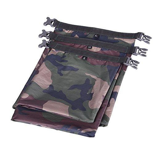 WINOMO Lot de 3 sacs de rangement étanches pour camping, bateau, kayak, rafting, pêche (camouflage)