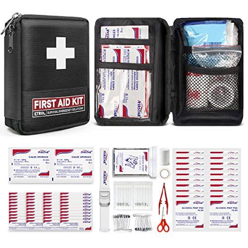 ETROL Erste Hilfe Set 108 teilig - Kompakt, Leicht, Tragbares Erste Hilfe Kasten, für Rucksacktouren, Überleben im Notfall,Auto, Wandern,Camping, Zuhause, Reisen, Boot - Rot,Schwarz