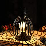 JHY DESIGN Jaula de alambre de metal 24cm de alto lámpara de mesa sin cable funciona con pilas estilo nórdico lámpara de hierro retro bombilla LED luz de noche decorativa para dormitorio sala(negro)