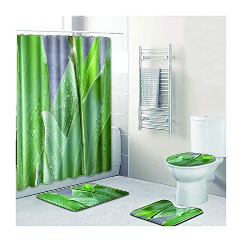 Knbob Badvorleger Set 4Tlg Blätter Stil 5 Wc Teppich Toilette 50X80Cm