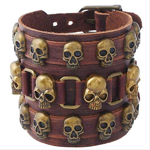 Nobrand Gótico Punk Vintage Hiphop Skull Rivet Pulsera Brown Pirate Skeleton Encanto Amplio Cuero Brazalete Cinturón Pulseras Accesorios Accesorios
