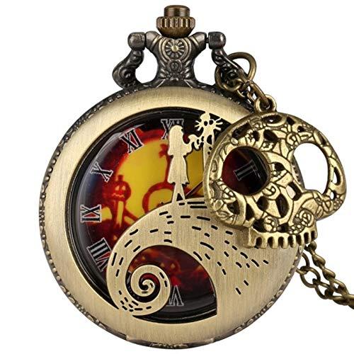 ZMKW Tim Burton Collar Reloj Pesadilla Antes de Navidad Reloj de Bolsillo...