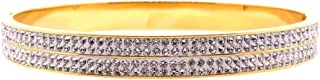 Bevilles Yellow Stainless Steel 6mm Pave Crystal Bangle