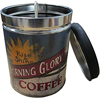 Our Own Candle Company Hazelnut Scented Candle in 13 Ounce Tin with a Vintage Morning Glory Coffee Label by Linda Spivey