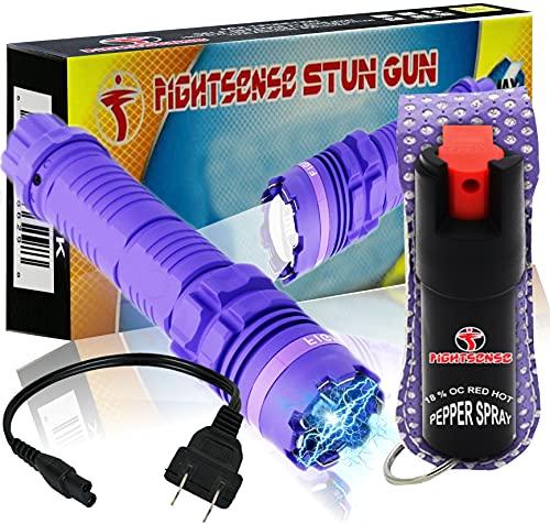 FIGHTSENSE Heavy Duty Flashlight Stun Gun & Pepper Spray Combo Set for Self Defense - Rechargeable Batteries - Bright LED Flashlight with Three Modes for Men Or Women (Purple Bling)