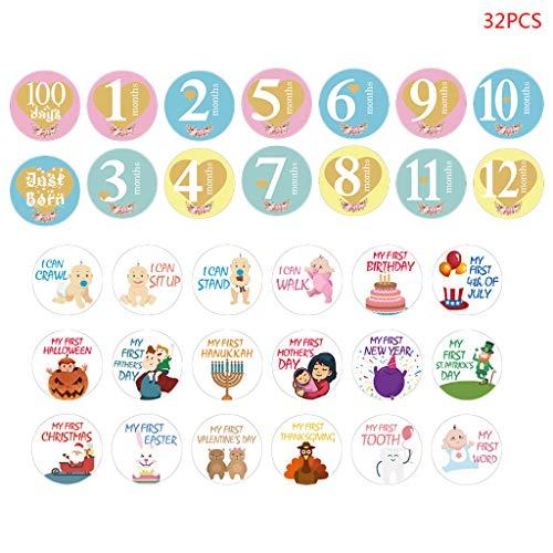 UNFAIR 32 PCS Baby-Fotografie Monat Aufkleber, Niedliches Cartoon-Baby Milestone Aufkleber, 1-12 Monate Album Fotoalbum
