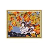 MISS Z Cat and Maple DIY Costura hecha a mano contada 14CT Kit de bordado de punto de cruz impreso Decoración del hogar