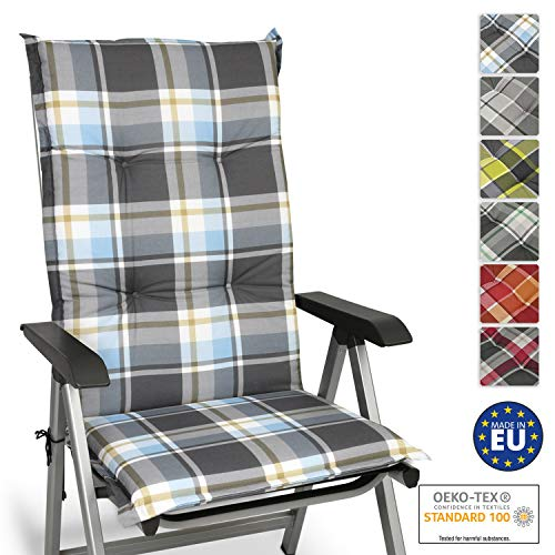 Beautissu Sunny BK Hochlehner Auflage für Gartenstuhl 120x50 cm in Blau Kariert - Bequemes Sitzkissen Polsterauflage UV-Lichtecht - weitere Designs erhältlich