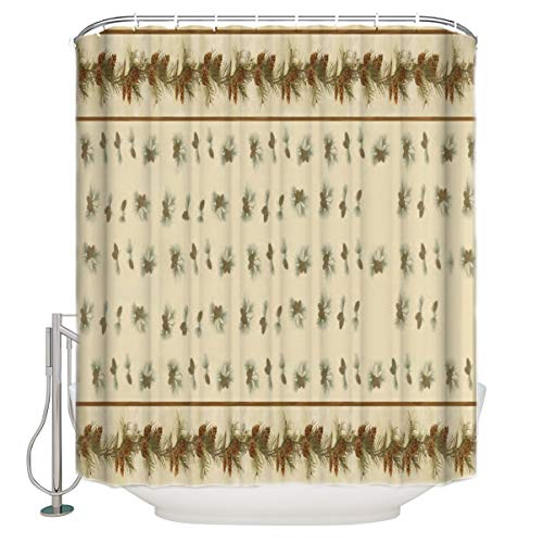 Shower Curtain, Pinecones Waterproof Polyester Fabric Bath Curtains with Hooks for Bathroom Extra Long 72x84inch