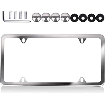 Aintier 1 PCS License Plate Bracket Stainless Steel Car Licence Plate Covers Slim Design with Bolts Washer Caps for US Standard