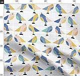 Tiere, Vögel, Leinen, Struktur, Gelb, Blau Stoffe -