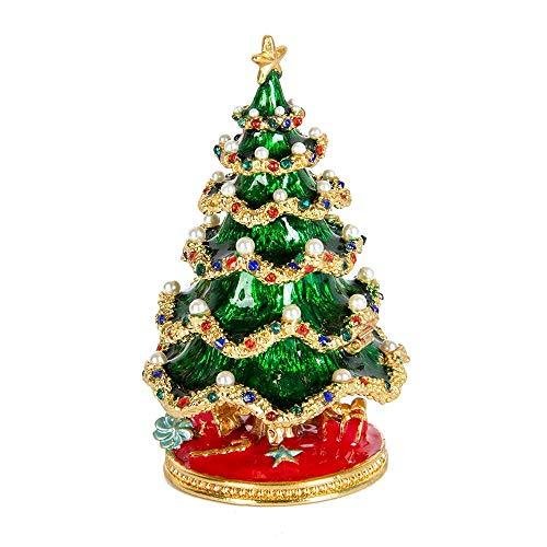 Nouvelle Boîte à Bijoux Décorative Arbre De Noël Style émaillé Peint à La Main Pour Cadeau Decor