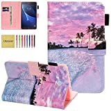 Galaxy Tab A 7.0 Case SM-T280, Elepower Slim Fit Premium PU Leather Flip Folio Stand Wallet Protective Cover with Card Holder for Samsung Galaxy Tab A 7.0 T280/T285 Tablet 2016 Model, Hot Beach