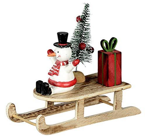dekojohnson Weihnachtsschlitten mit Schneemann Deko-Schlitten Elch Tannenbaum Holz Weihnachtsdeko Natur rot grün 13x15x6cm