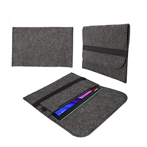 eFabrik Tasche für Allview Wi10N PRO 10.1 Schutztasche Hülle Tablettasche Sleeve Hülle Soft Cover Schutzhülle Filz dunkel grau