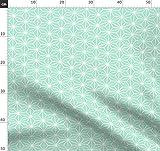 Geometrisch, Fliese, Stern, Modern, Origami, Mint Stoffe -